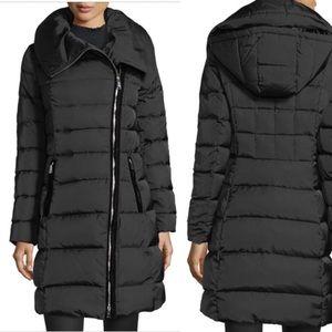 T Tahari Down Fill Velvet Trim Puffer Long Coat L
